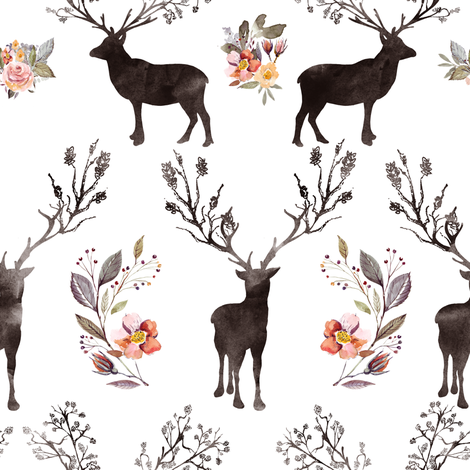 "8"" Floral Woodland Deer Silhouette fabric by shopcabin on Spoonflower - custom fabric"