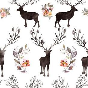 "8"" Floral Woodland Deer Silhouette"