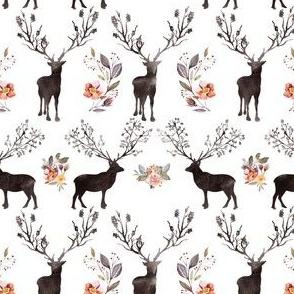 "4"" Floral Woodland Deer Silhouette"