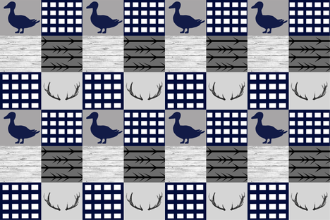 Ducks and bucks - navy and gray - smaller fabric by moonsheets on Spoonflower - custom fabric