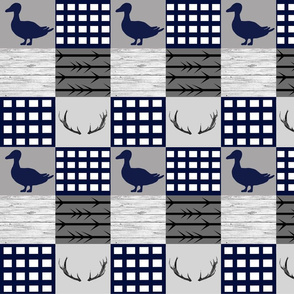 Ducks and bucks - navy and gray - smaller