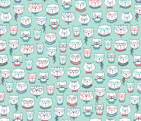 Cats In Glasses fabric by andie_hanna on Spoonflower - custom fabric