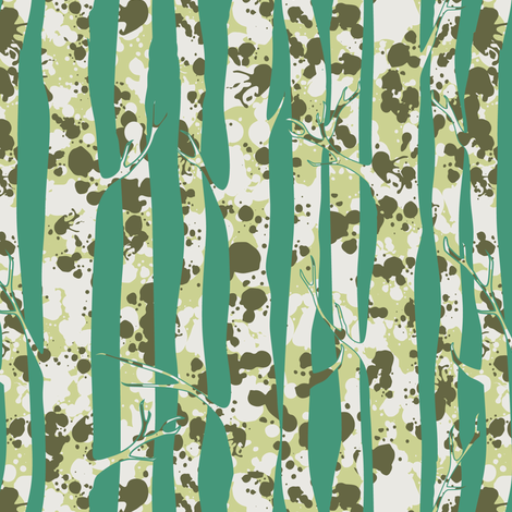 Inky Silver Birches Ice fabric by harrietharkerdesigns on Spoonflower - custom fabric