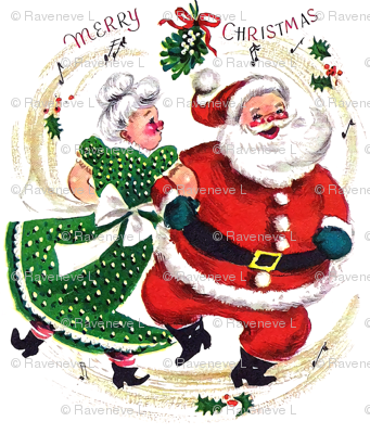 Merry Christmas xmas Mrs Santa Claus bows ribbons mistletoe musical notes music dancing dance couples husband wife vintage retro kitsch