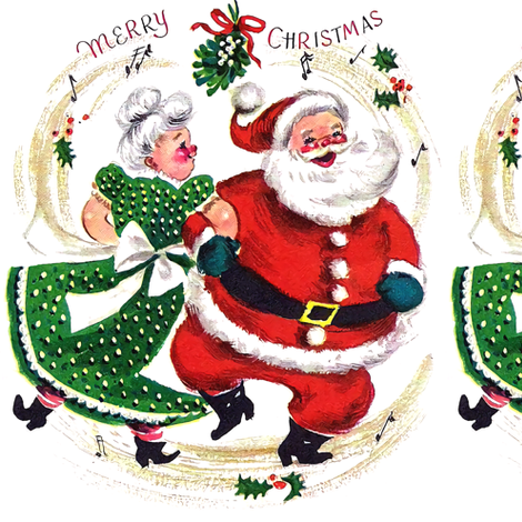 Merry Christmas xmas Mrs Santa Claus bows ribbons mistletoe musical notes music dancing dance couples husband wife vintage retro kitsch  fabric by raveneve on Spoonflower - custom fabric