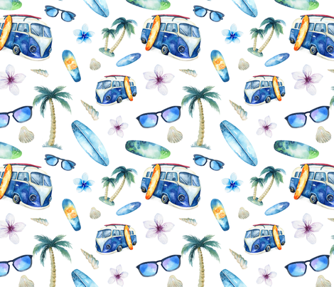 Watercolor beach 2 fabric by peace_shop on Spoonflower - custom fabric