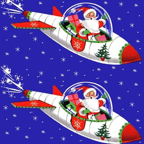 Merry Christmas trees xmas Santa Claus rockets spaceships airplanes planes aeroplanes snowflakes stars gifts presents science fiction sci fi vintage retro kitsch  space sky