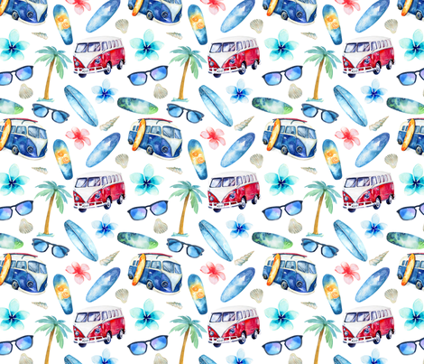 Watercolor beach 4 fabric by peace_shop on Spoonflower - custom fabric