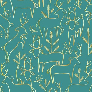 deer and pine, gold and teal
