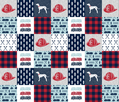 firefighter wholecloth - patchwork - red blue navy fabric by littlearrowdesign on Spoonflower - custom fabric