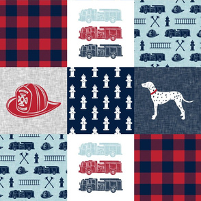 firefighter wholecloth - patchwork - red blue navy