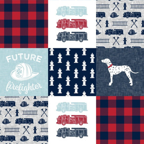 firefighter wholecloth - patchwork - red blue navy  - future firefighter blue