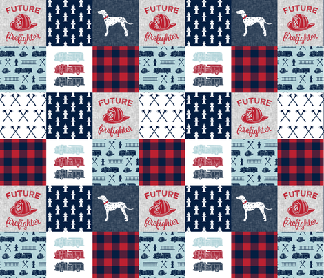 firefighter wholecloth - patchwork - red blue navy  - future firefighter red  fabric by littlearrowdesign on Spoonflower - custom fabric