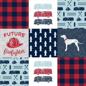 firefighter wholecloth - patchwork - red blue navy  - future firefighter red
