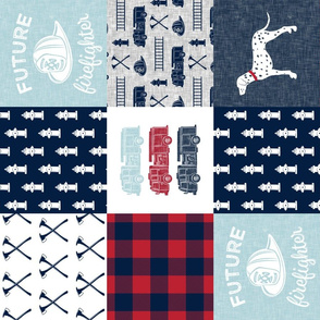 firefighter wholecloth - patchwork - red blue navy  - future firefighter blue (90)