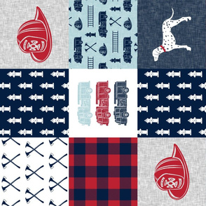 firefighter wholecloth - patchwork - red blue navy (90)