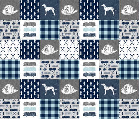firefighter wholecloth - patchwork - grey & navy  fabric by littlearrowdesign on Spoonflower - custom fabric