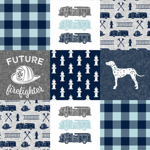 firefighter wholecloth - patchwork - navy and grey - future firefighter grey