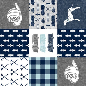 firefighter wholecloth - patchwork - grey & navy (90)