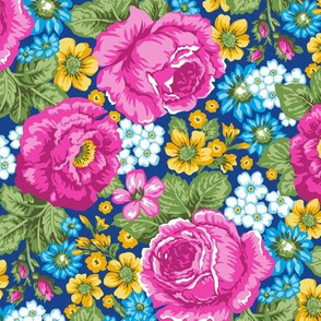 Pink Roses & Vintage Flowers on Blue Navy