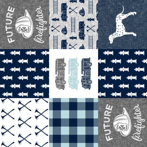 firefighter wholecloth - patchwork - navy and grey - future firefighter grey (90)