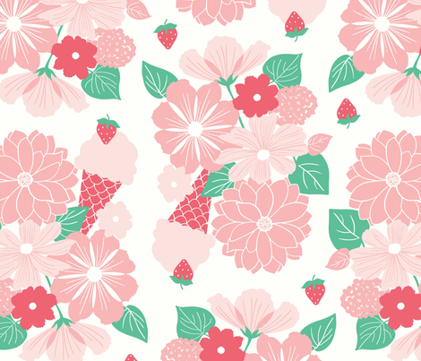 Flower Bunch with Ice cream fabric by tessie_fay on Spoonflower - custom fabric