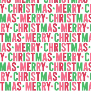 merry christmas green + pink + red UPPERcase