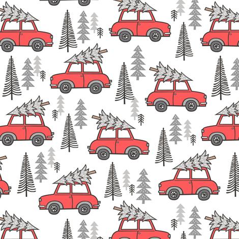 Holiday Christmas Grey Tree Red Car Woodland Fall 2 Inch fabric by caja_design on Spoonflower - custom fabric