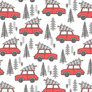 Holiday Christmas Grey Tree Red Car Woodland Fall 2 Inch