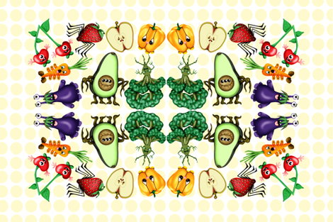 Food_Monsters fabric by all_dolled_up_designs on Spoonflower - custom fabric