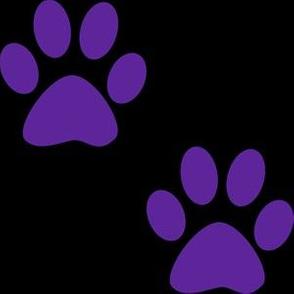 Three Inch Purple Paws on Black