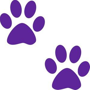 Three Inch Purple Paws on White
