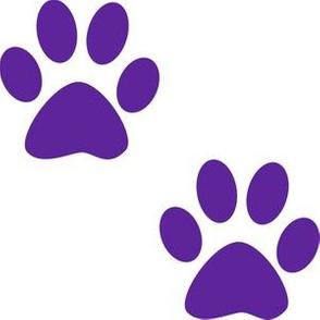 Three Inch Purple Paws on White