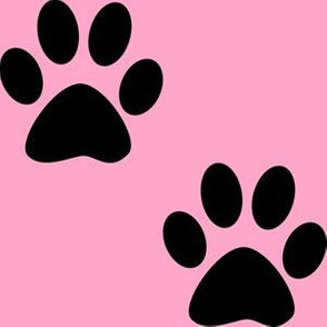 Three Inch Black Paws on Carnation Pink