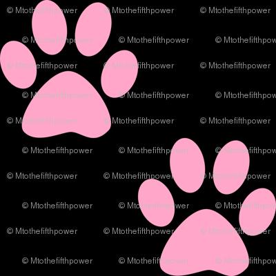 three inch carnation pink paws on black