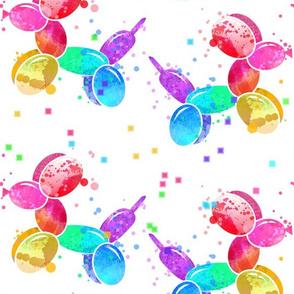 Rainbow Watercolor Balloon Dogs