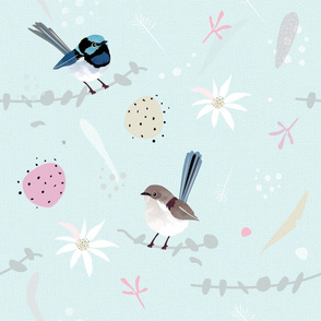 Fairy Wrens MINT / Australian birds flannel flowers eucalyptus billy button