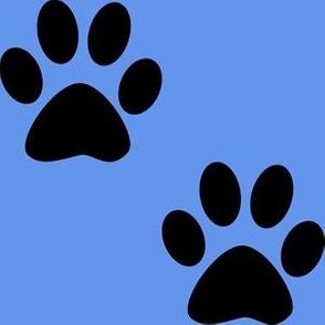 Three Inch Black Paws on Cornflower Blue