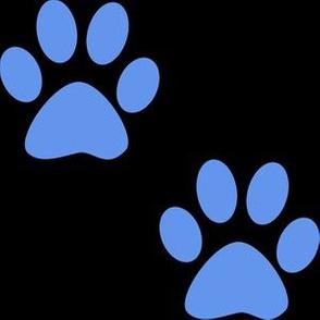 Three Inch Cornflower Blue Paws on Black