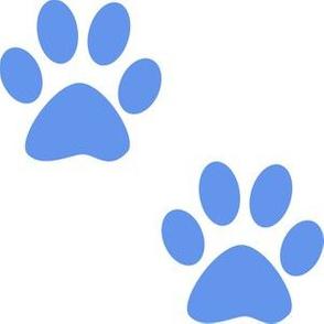 Three Inch Cornflower Blue Paws on White
