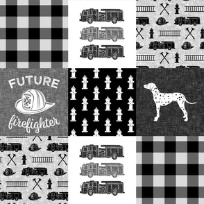 firefighter wholecloth - patchwork - monochrome  - future firefighter