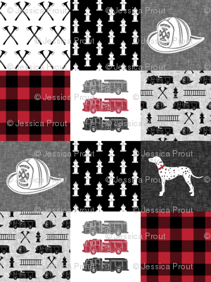 firefighter wholecloth - patchwork - red and black