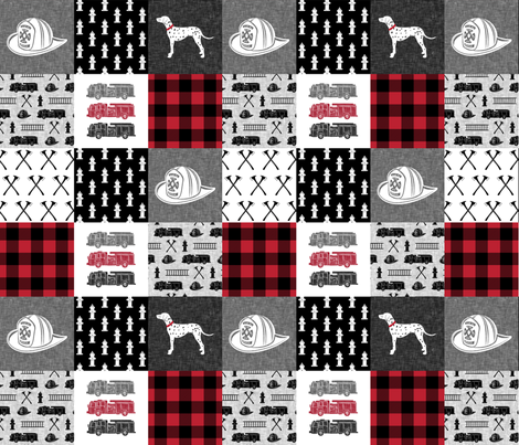 firefighter wholecloth - patchwork - red and black fabric by littlearrowdesign on Spoonflower - custom fabric