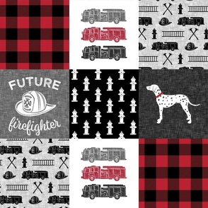 firefighter wholecloth - patchwork - red and black future firefighter