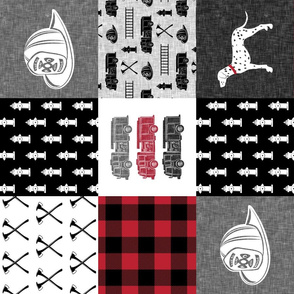 firefighter wholecloth - patchwork - red and black  (90)