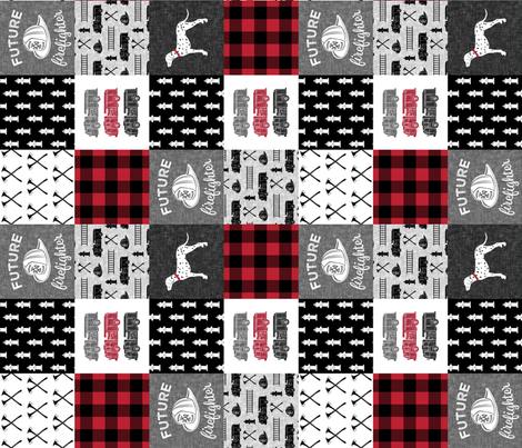 firefighter wholecloth - patchwork - red and black future firefighter  (90) fabric by littlearrowdesign on Spoonflower - custom fabric