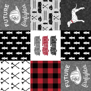 firefighter wholecloth - patchwork - red and black future firefighter  (90)
