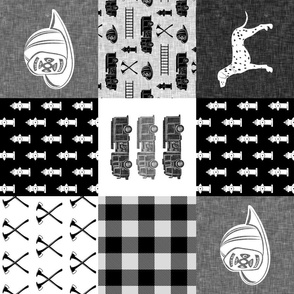 firefighter wholecloth - patchwork - monochrome - (90)