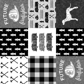 firefighter wholecloth - patchwork - monochrome  - future firefighter (90)