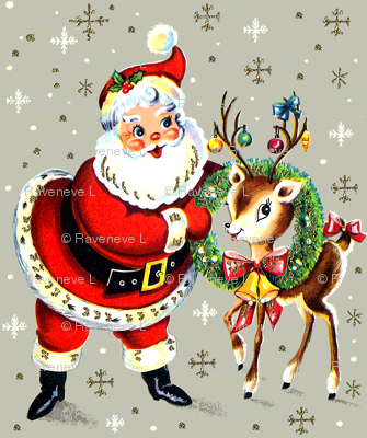 Merry Christmas xmas Santa Claus deer wreaths baubles bows bells ribbons snowflakes snow mistletoe vintage retro kitsch